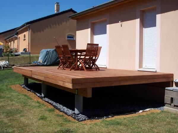 pose terrasse bois sur lambourdes